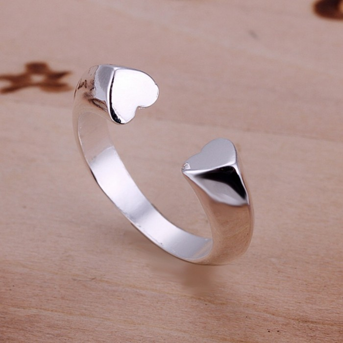 SR030 Fashion Silver Jewelry Heart Open Rings Men Women