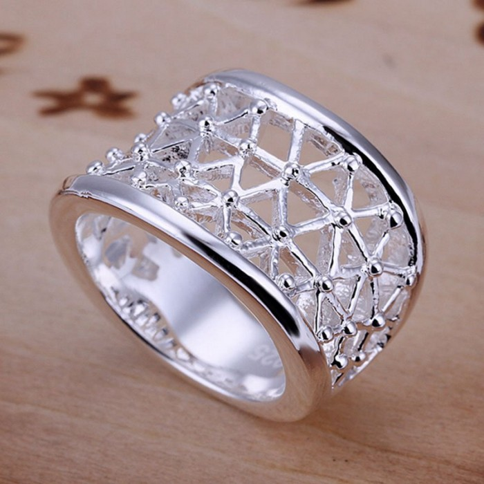 SR032 Fashion Silver Jewelry Hollow out Rings Men Women