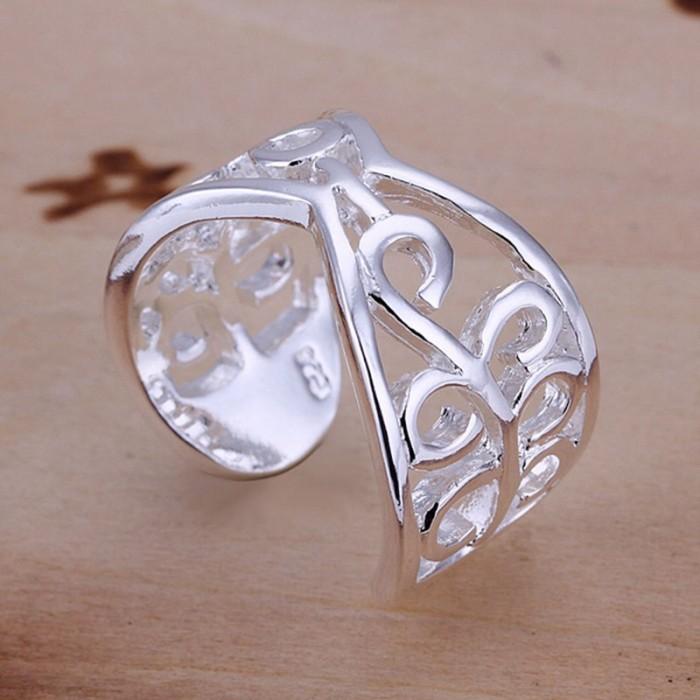 SR033 Fashion Silver Jewelry Flower Rings For Women