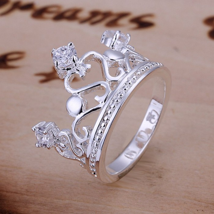 SR034 Fashion Silver Jewelry Crystal Crown Rings For Women