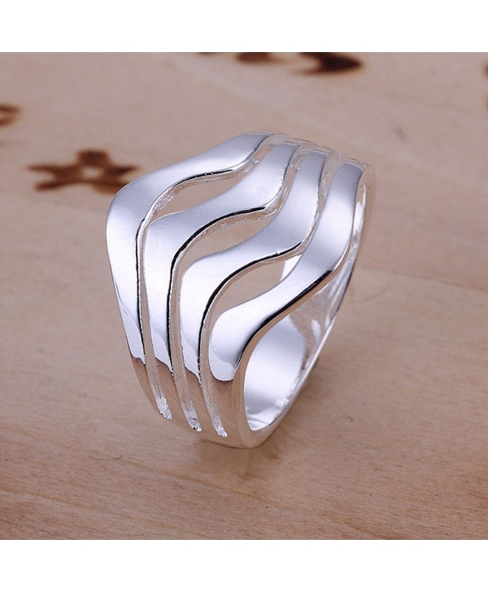SR123 Fashion Silver Jewelry Ripple Rings For Women