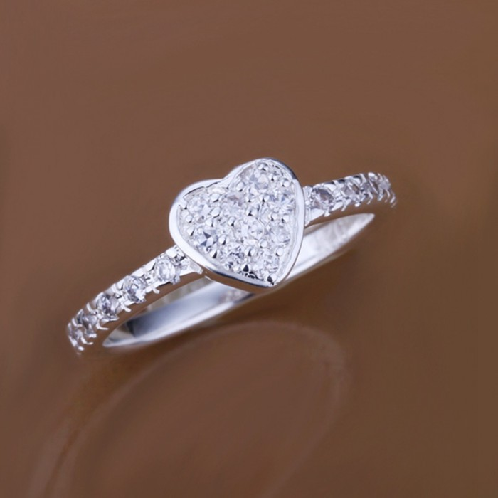 SR161 Fashion Silver Jewelry Crystal Heart Rings For Women