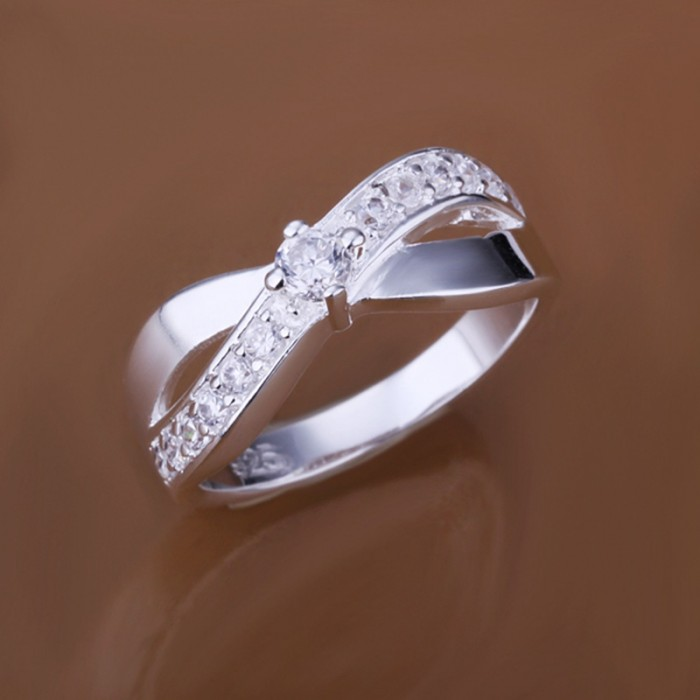 SR162 Fashion Silver Jewelry Crystal X Rings For Women