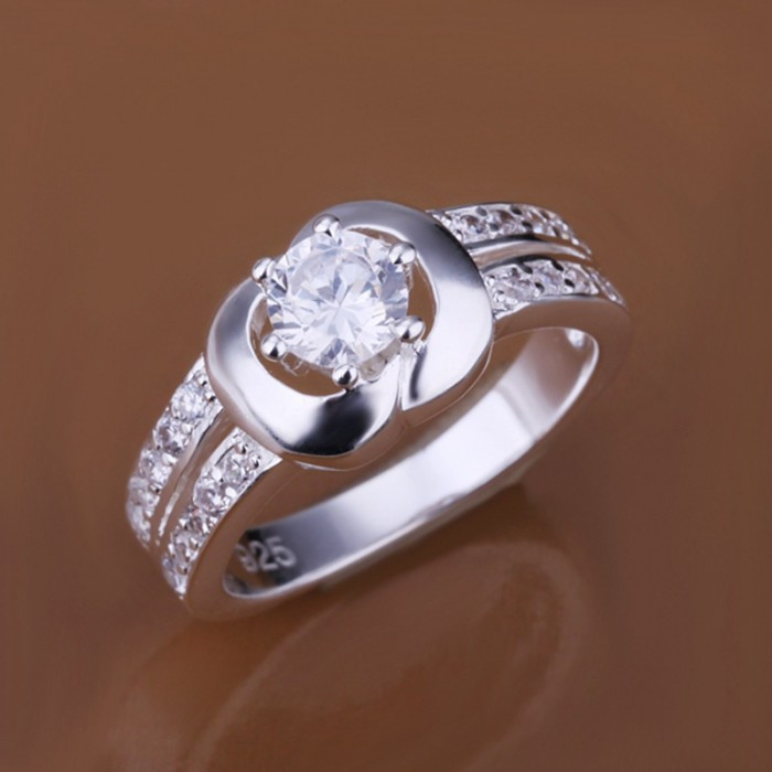 SR163 Fashion Silver Jewelry Crystal Apple Rings For Women