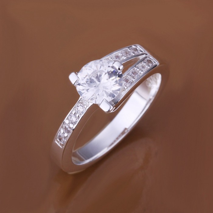 SR164 Fashion Silver Jewelry Crystal Geometry Rings For Women