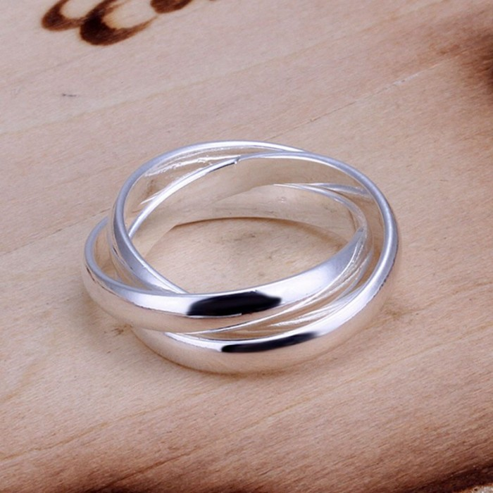 SR167 Fashion Silver Jewelry 3 Circle Rings For Women