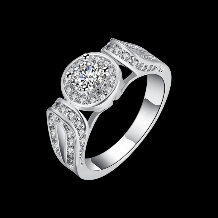 SR176 Fashion Silver Jewelry Crystal Geometry Rings For Women
