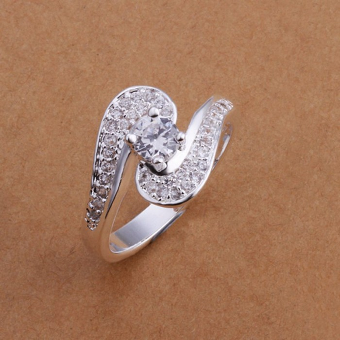 SR179 Fashion Silver Jewelry Crystal Geometry Rings For Women