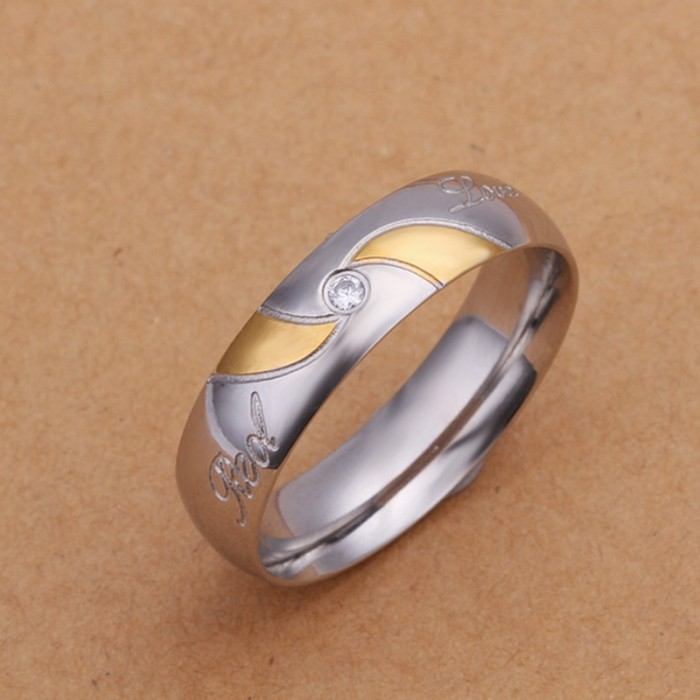 SR227 Fashion Silver Jewelry Crystal Gold Rings For Men