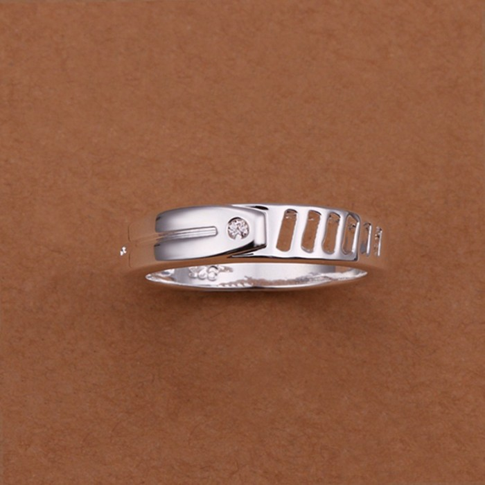 SR245 Fashion Silver Jewelry Crystal Geometry Rings For Women