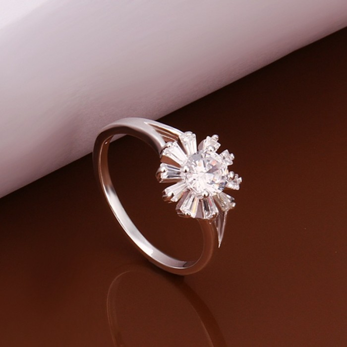 SR261 Fashion Silver Jewelry Crystal Flower Rings For Women