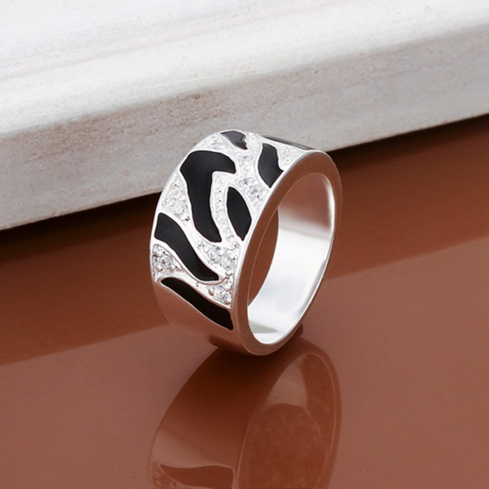 SR271 Fashion Silver Jewelry Crystal Black Rings For Women