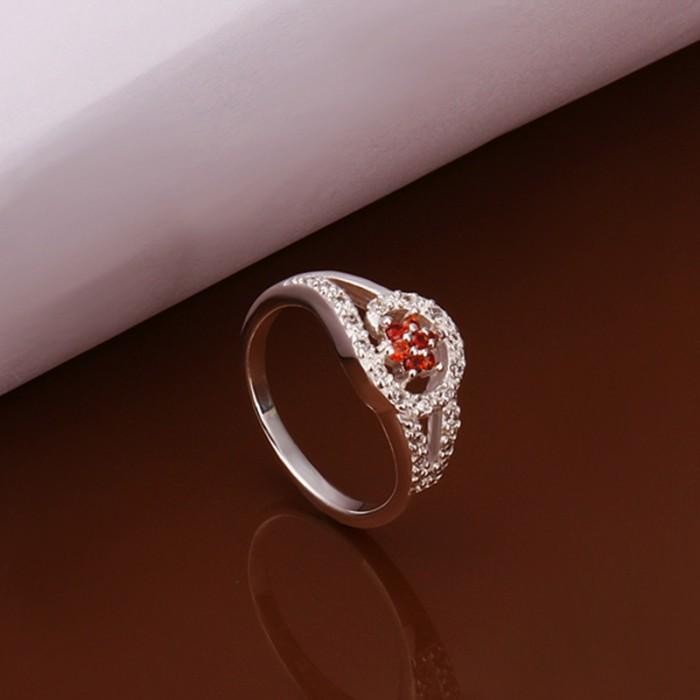 SR281 Fashion Silver Jewelry Red Crystal Flower Rings For Women