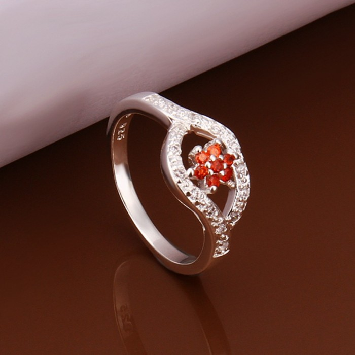 SR282 Fashion Silver Jewelry Red Crystal Flower Rings For Women