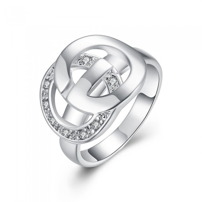 SR291 Fashion Silver Jewelry Crystal Geometry Rings For Women