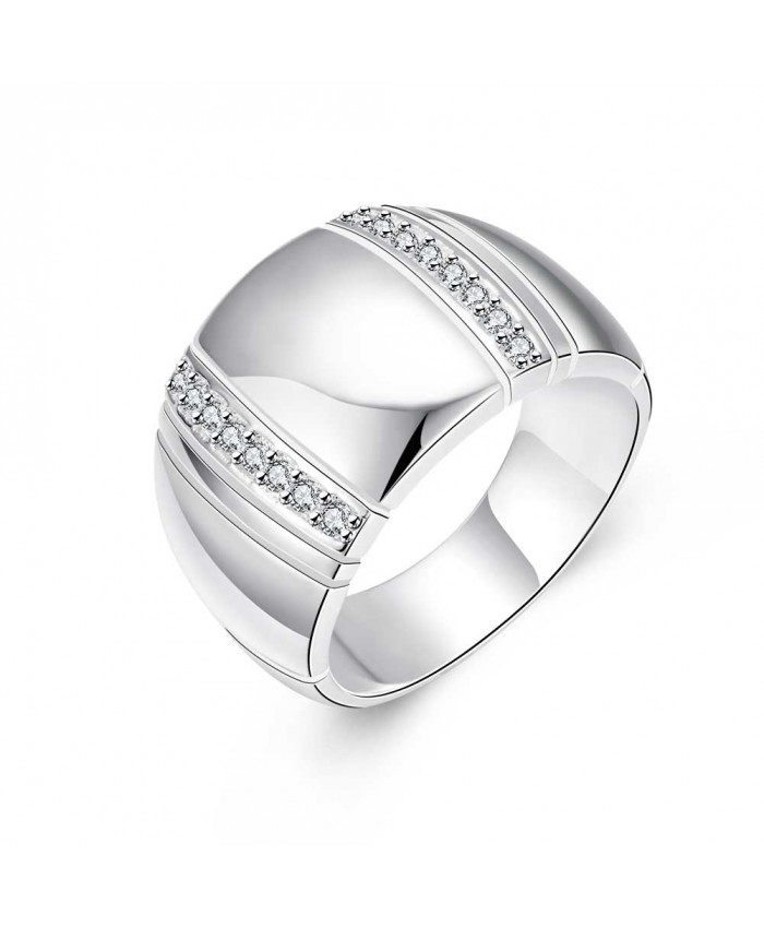 SR777 Fashion Silver Jewelry Crystal Geometry Rings For Women
