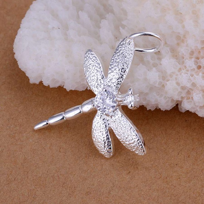 SP011 Fashion Silver Jewelry Crystal Dragonfly Chain Pendant Necklace