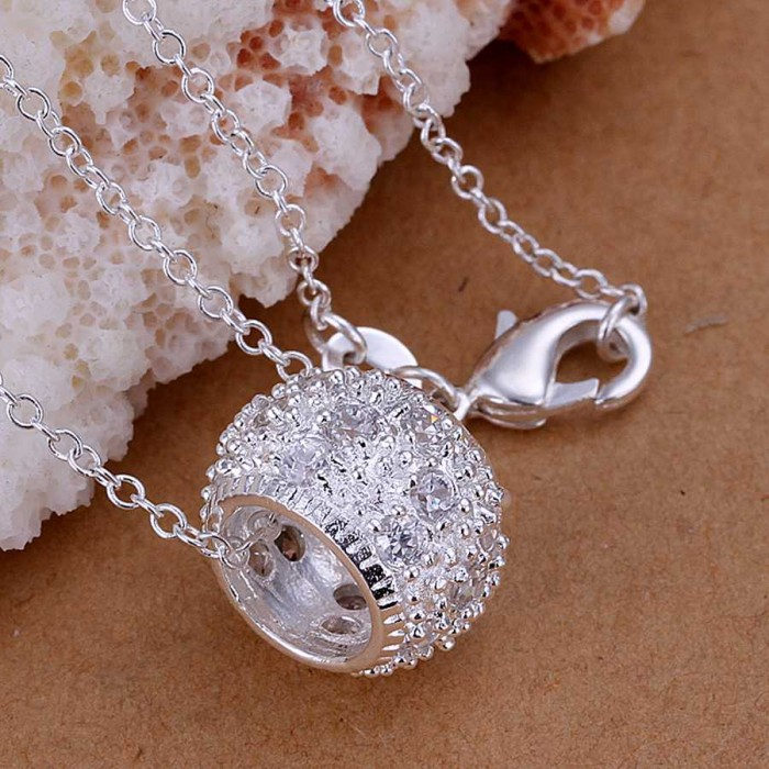 SP024 Fashion Silver Jewelry Crystal Beads Chain Pendant Necklace