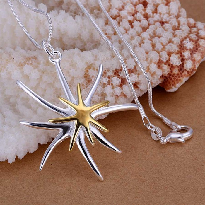 SP026 Fashion Silver Jewelry Gold Starfish Chain Pendant Necklace