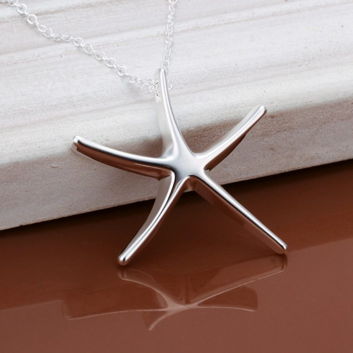 SP027 Fashion Silver Jewelry Starfish Chain Pendant Necklace