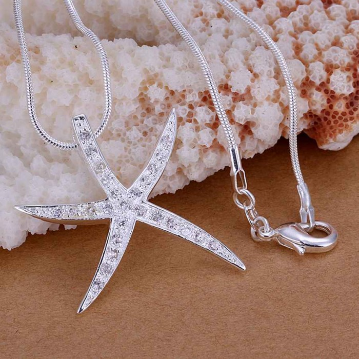 SP030 Fashion Silver Jewelry Crystal Starfish Chain Pendant Necklace