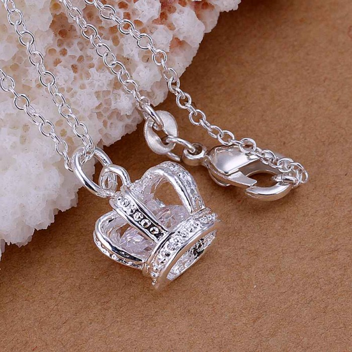 SP162 Fashion Silver Jewelry Crystal Crown Chain Pendant Necklace