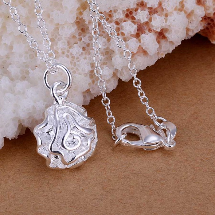 SP168 Fashion Silver Jewelry Rose Chain Pendant Necklace