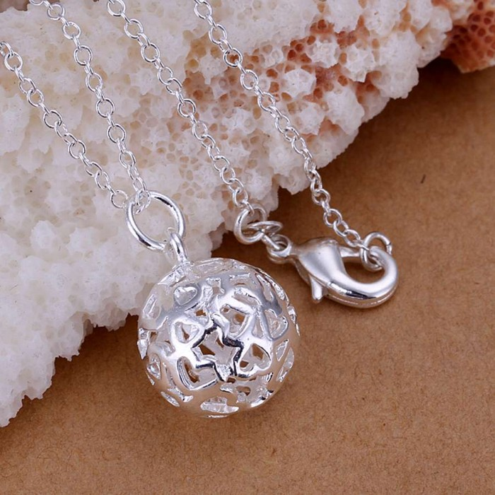 SP174 Fashion Silver Jewelry Hollow Ball Chain Pendant Necklace