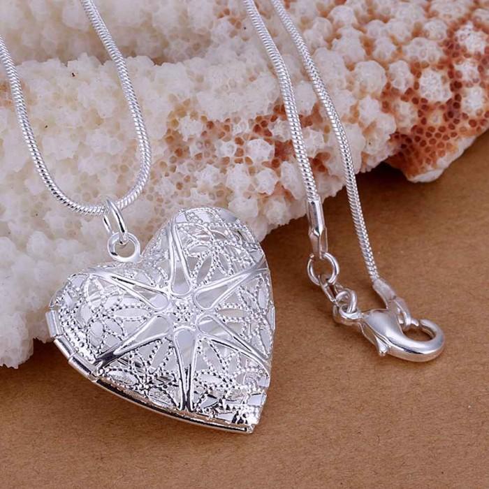 SP185 Fashion Silver Jewelry Heart Rahmen Chain Pendant Necklace