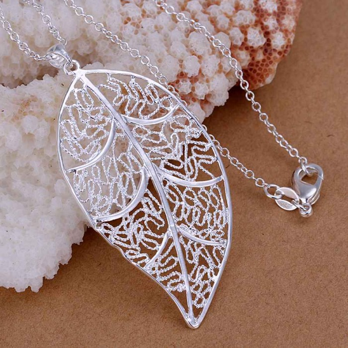 SP187 Fashion Silver Jewelry Leaf Chain Pendant Necklace