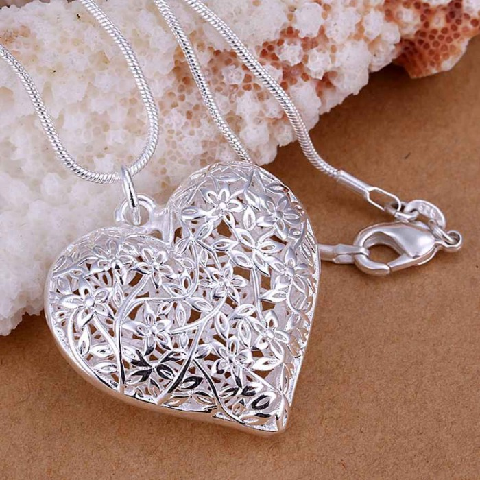 SP218 Fashion Silver Jewelry Beauty Heart Chain Pendant Necklace