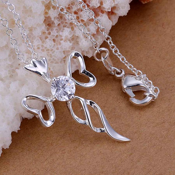 SP227 Fashion Silver Jewelry Crystal Cross Chain Pendant Necklace