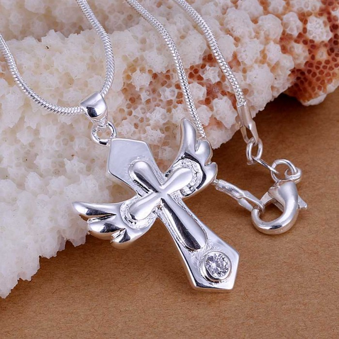 SP228 Fashion Silver Jewelry Crystal Cross Chain Pendant Necklace