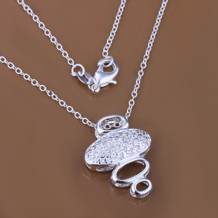 SP289 Fashion Silver Jewelry Crystal Bubble Chain Pendant Necklace