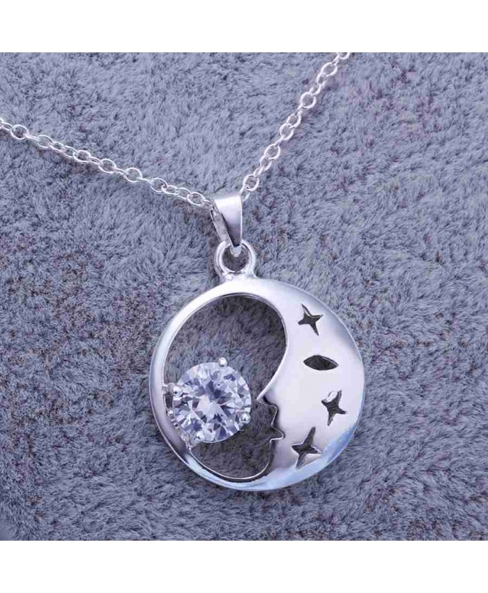SP316 Fashion Silver Jewelry Crystal Moon Chain Pendant Necklace