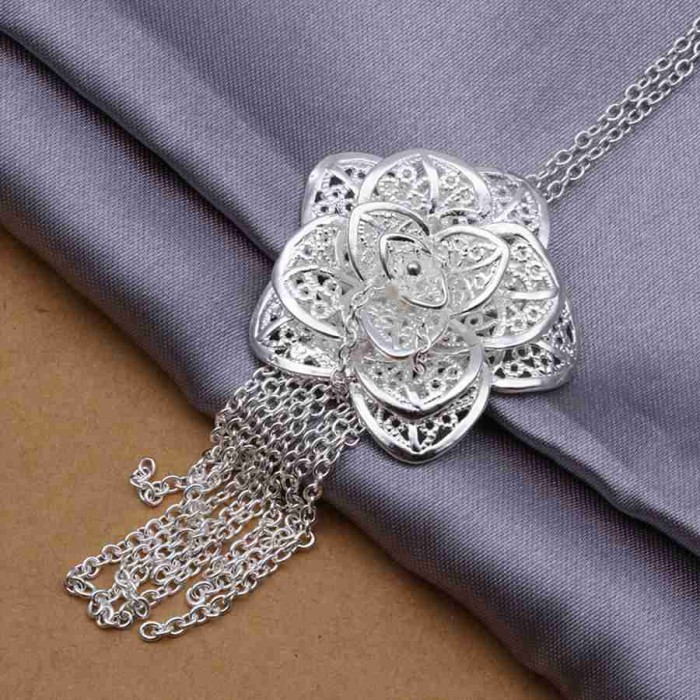 SP318 Fashion Silver Jewelry Beauty Flower Chain Pendant Necklace